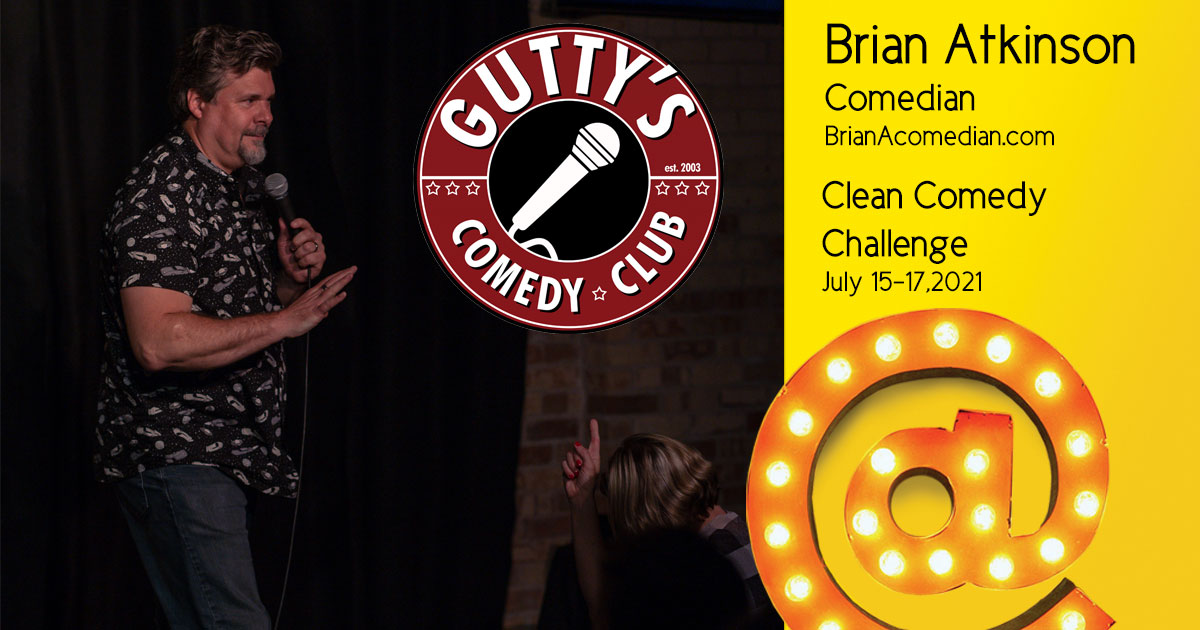 Brian Atkinson at Gutty's for the Clean Comedy Challenge