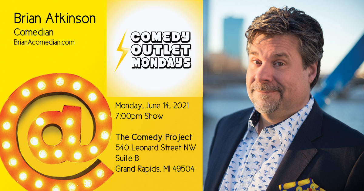 Brian Atkinson performs at Comedy Outlet Mondays at The Comedy Project, a weekly variety show featuring improv, sketch, standup, and other experimental comedy.