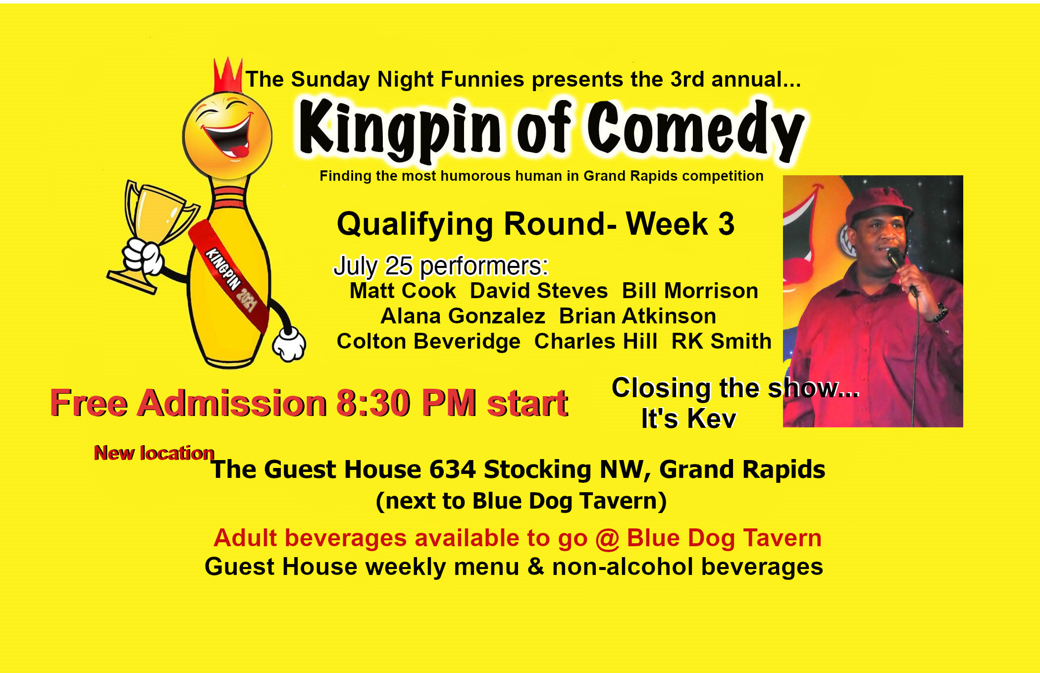 Brian Atkinson performs at the Sunday Night Funnies Kingpin of Comedy